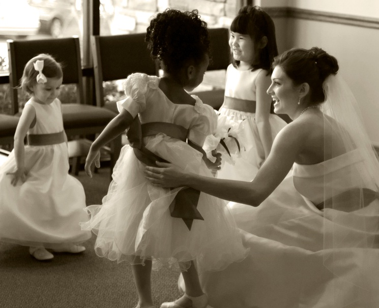 Flower Girls and Bride black and white